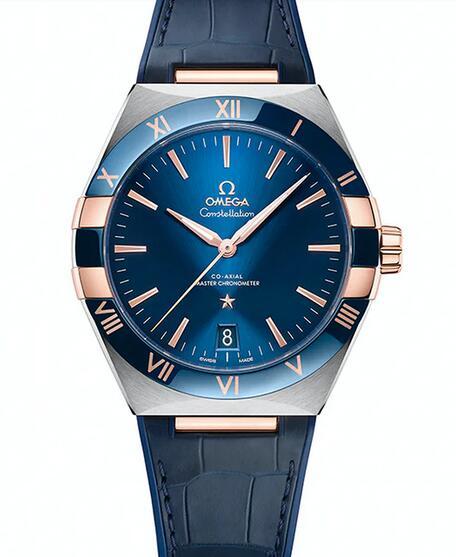 Presentamos el reloj réplica Omega Constellation Ceramic Steel de 18k en oro Sedna de 41mm 2