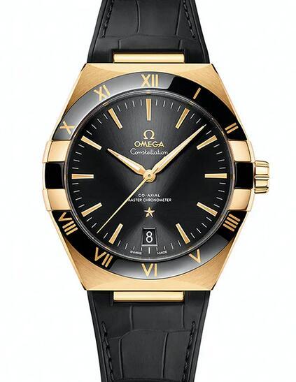 Presentamos el reloj réplica Omega Constellation Ceramic Steel de 18k en oro Sedna de 41mm 3